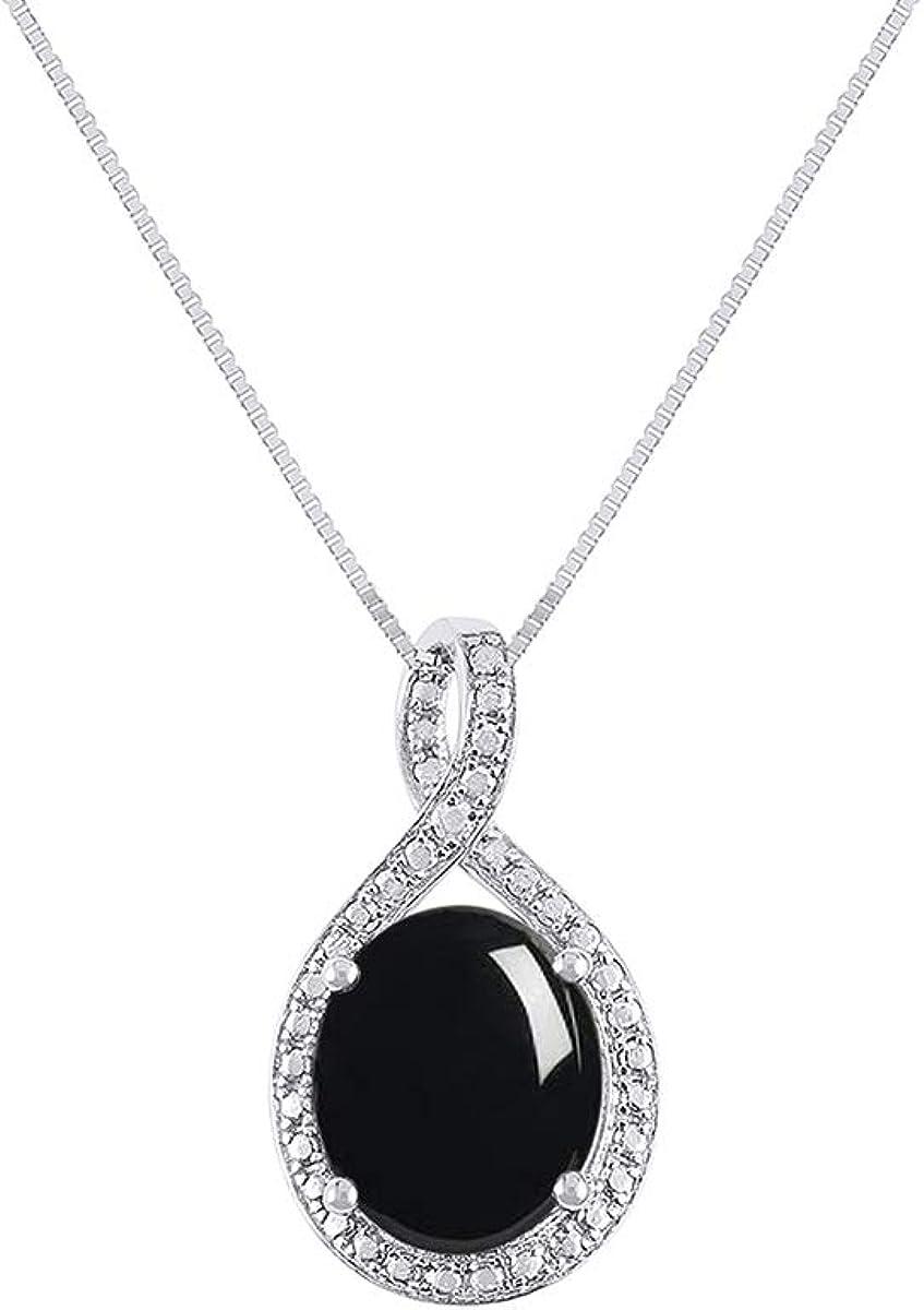 RYLOS Halo Collar de diseño con forma ovalada y diamantes genuinos en oro blanco de 14 quilates – Colgante de piedra de color de 12 x 10 mm con cadena de 45,7 cm