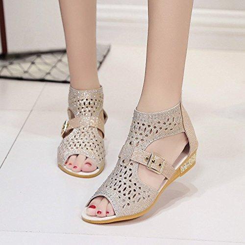 Thirty la cremallera Sandalias talón alta de zapatos mujer six Dony de sandalias y ahuecado el TwA4qxO