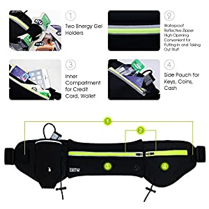 Hydration Running Belt : EOTW Sports Hiking Waist Band Bag Pocket Pouch Belt With Water Bottle Holder - For iPhone 6 6S Plus,Samsung S5 S6 S7 Edge - 3M Reflective Strips, Roomy Pouch(Waist: 25''-68'')