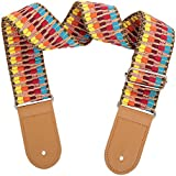 Wexbin Hootenanny Style Guitar Straps Genuine transfer Printing guitar straps Jacquard Weave Classical fabric Retro Braided Style 100% Cotton Leather Adjustable length (Color weaving)