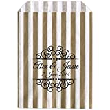 Personalised Wedding Sweet Bags CURLY BORDER Candy Cart Wedding Favours Confetti Engagement (30, Gold striped) by Made by Mika