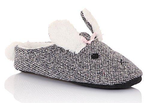 Loungeable, Ladies Animal Pom Fleece Lined Slip On Mule Slippers, Grey, Medium (UK 5-6) (Mouse Grey Rubber)