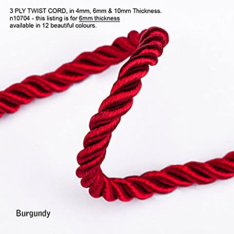 Neotrim 6mm Barley Twist Rope Cord Trimming, Braided, For Piping or Edging, Home Décor. High Sheen Viscose, Prominent 3 Ply Twist Look, with 12 Stunning Colours to Choose From - Burgundy - 3 - Rayon Twist Cord