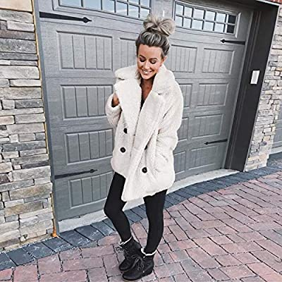 Famulily Women's Winter Warm Open Front Fleece Fluffy Jacket Coat Outwear with Pockets at Women's Coats Shop