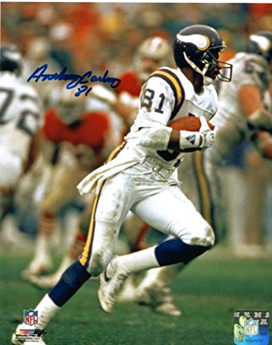 Autographed Anthony Carter (NFL) Photo - W ball 8x10 W coa - Autographed NFL Photos