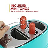 Americana By Elite ECT-542BL Retro Pop-Up Hot Dog Toaster Cooker Machine, 2 Slice, Blue