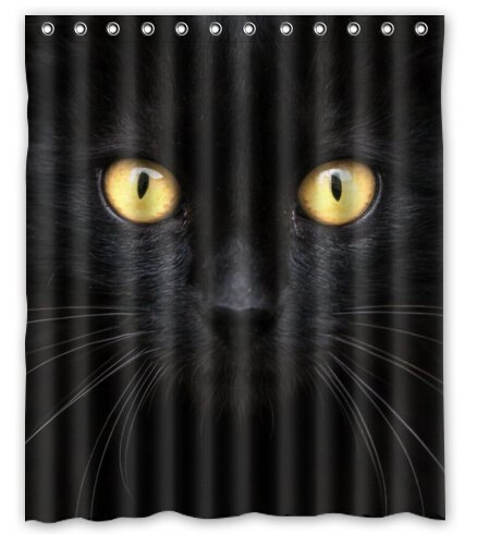 BravoVision the Black Cat in the Dark Waterproof Polyester Shower Curtain 60