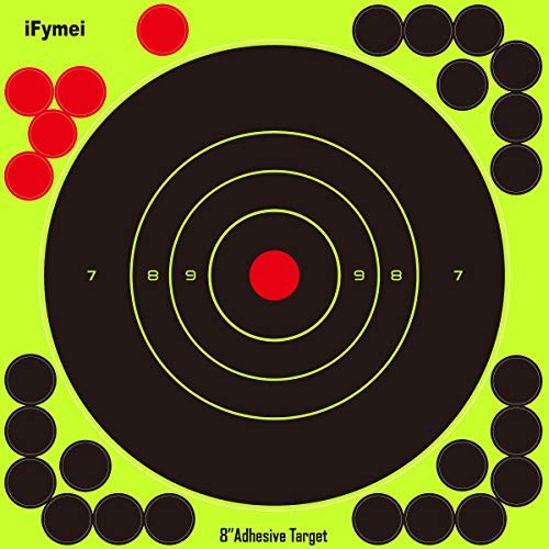 Shooting Targets , iFymei 8 inch targets for shooting Self Adhesive Reactive targets Paper - Great for Gun Rifle Pistol Bb Gun Airsoft Pellet Gun Air Rifle (Paper Targets For Bb Guns)