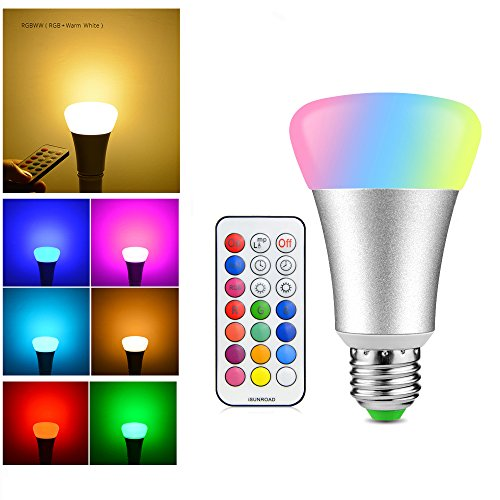RAYWAY 2-in-1 Timing Setting RGB LED Bulb, Multicolor + Warm White Dimmable Color Lamp with Remote Control 10W (40-50W Equiv.) E26 E27 Base A19 800 lumens Spotlight
