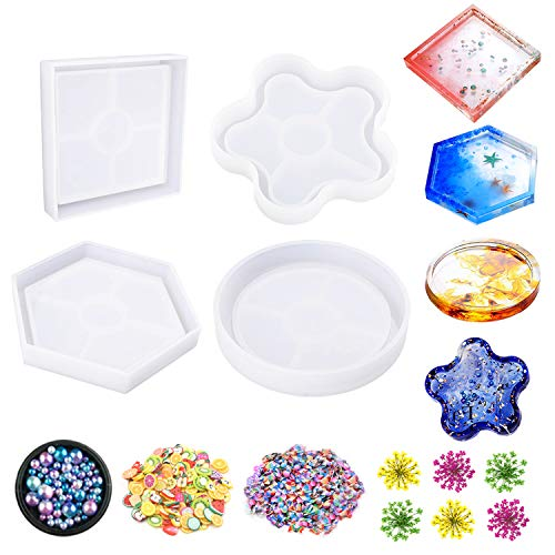 (Jatidne Resin Molds Coaster Silicone Molds for Resin Epoxy Casting Molds 4 Pieces Shapes with Flowers and Beads DIY Craft)