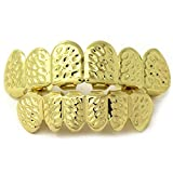 JINAO Hip-Hop Gilded Carved Patterns Gold Teeth Halloween Teeth Grillz Props