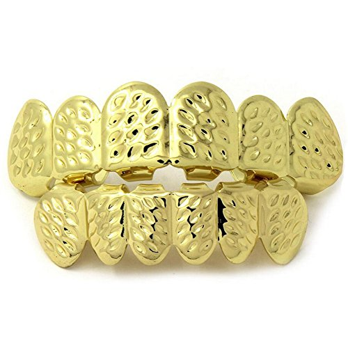Custom Props For Halloween (JINAO Hip-Hop Gilded Carved Patterns Gold Teeth Halloween Teeth Grillz Props (Gold D-cut))