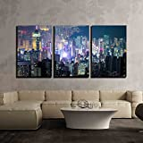 wall26 - 3 Piece Canvas Wall Art - Abstract Futuristic Night Cityscape with Illuminated Skyscrapers - Modern Home Decor Stretched and Framed Ready to Hang - 24''x36''x3 Panels