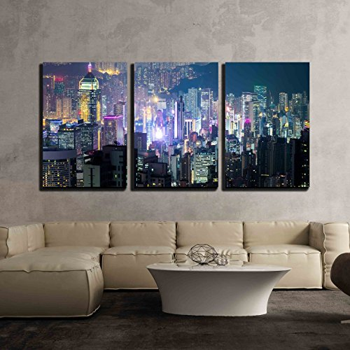 wall26 - 3 Piece Canvas Wall Art - Abstract Futuristic Night Cityscape with Illuminated Skyscrapers - Modern Home Decor Stretched and Framed Ready to Hang - 24''x36''x3 Panels by wall26