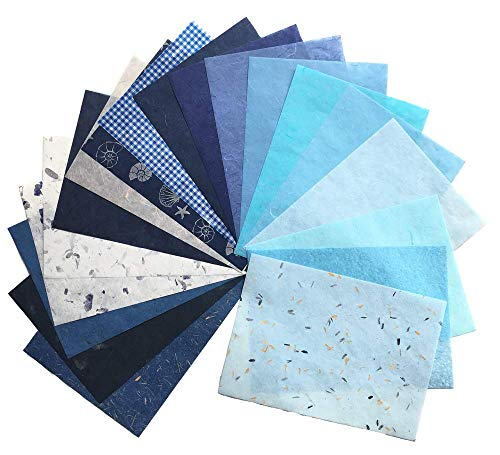RATREE SHOP 20 Mulberry Paper Sheet Design Craft Hand Made Art Tissue Japan Origami Washi Wholesale Bulk Sale Unryu Suppliers Card Making Washi Paper Sheets (No03)
