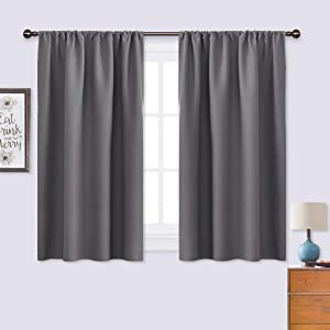 NICETOWN Grey Window Curtains for Bedroom - Home Decoration Thermal Insulated Rod Pocket Blackout Blinds & Drapes for Small Windows (Gray, 2 Panels, W42 x L45 -Inch)