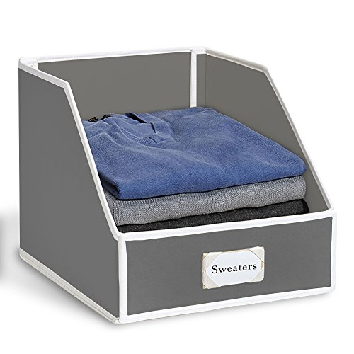 G.U.S Closet Shelf Storage Bin To Organize Sweaters, Jeans and Shirts - Gray with White Trim, Set of - Shelf Tub Bottom Utility Cart