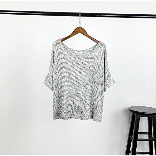 Xmy Mr tricot poches lâche basse bat manches courtes T-shirt à col rond de couleur solide capot kit shirt T-shirt code sont
