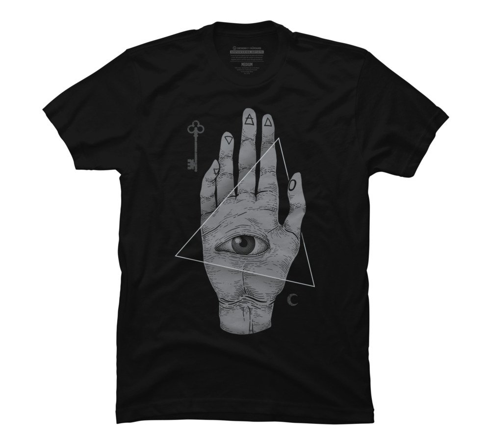 Design By Humans Witch Hand Men's Small Black Graphic T Shirt