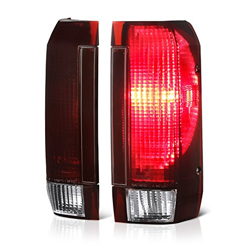 VIPMOTOZ For 1987-1996 Ford Bronco F-150 F-250 F-350 Pickup Truck OE-Style Smoke Red Lens Tail Light Housing Lamp Assembly Replacement Driver & Passenger Side