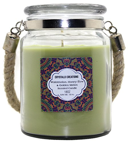 - Crystalo Creations Melons 3 in 1, Watermelon, Honey Dew, Golden Melon Scented Candle with Rope Handle, 18 Ounce