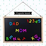 30x40cm Wooden Frame Double-sided Magnetic Dry Erase Black & White Board Erasable Blackboard / Chalk Message Memo Board / Restaurant Store Sign Board / Children Writing Pad Drawing Board