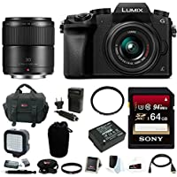 Panasonic Lumix DMC-G7KK Mirrorless Digital Camera w/ 14-42mm f/3.5-5.6 PLUS Panasonic LUMIX G MACRO 30mm / F2.8 ASPH. / MEGA O.I.S. & 64GB SD Card Bundle
