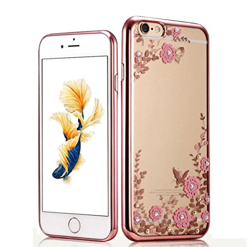 iPhone 6 Plus Case,GBSELL IPhone Iphone 6 Plus/6s Plus Hard Case Cover,Crystal TPU Cover Bling Diamond and Flower For iPhone (Rose Gold)