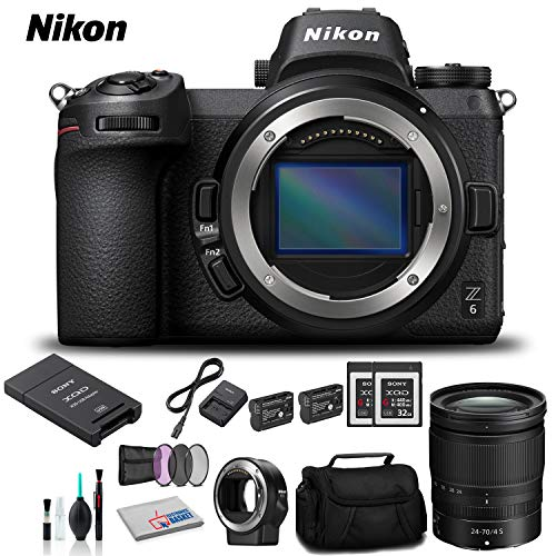 Format Camera Adapter - Nikon Z 6 Mirrorless Digital Camera with 24-70mm Lens and FTZ Mount Adapter Kit - Bundle 2X Sony 32GB Memory Card + 2X Spare Battery + Sony?USB Adapter and More - International Version