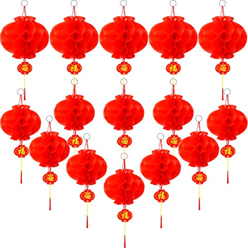 Bememo 15 Pieces Chinese Red Paper Lanterns Spring Festival Decorations for Chinese New Year Spring Festival Wedding Restaurant, 2 Types -