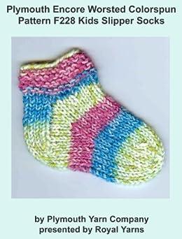 Plymouth Knitting Patterns : Plymouth Encore Worsted Colorspun Yarn Knitting Pattern F228 Kids Slipper Soc...