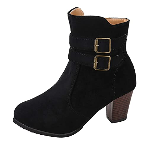 Schwarze Stiefel, Stiefeletten, schick, flacher Absatz, Blockabsatz, mit Reißverschluss