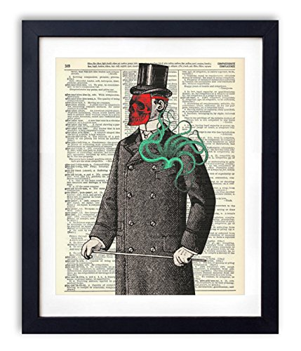 Victorian Gentleman With Red Skull Mask and Octopus Upcycled Vintage Dictionary Art Print 8×10