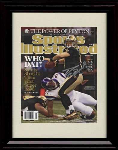 (Framed Drew Brees Sports Illustrated Autograph Replica Print - Who Dat! )