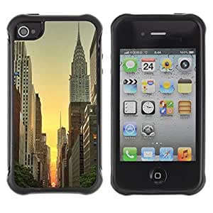Fuerte Suave TPU GEL Caso Carcasa de Protección Funda para Apple Iphone 4 / 4S / Business Style York Empire Building Sunrise Sky