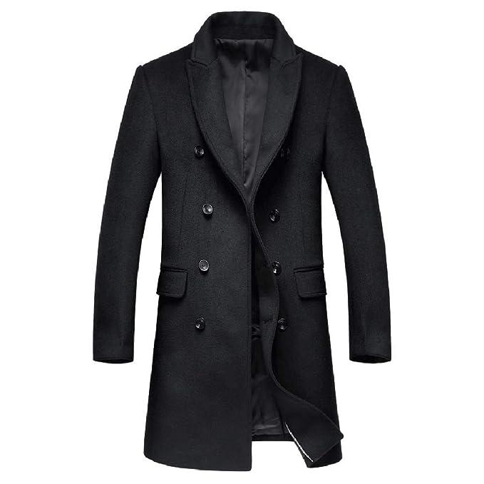 HGDR Negro Gris Slim Fit Lana Cashmere Coat Business Casual Traje ...