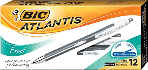 (BIC Atlantis Exact Retractable Ball Pen, Fine Point (0.7 mm), Black, 12-Count)