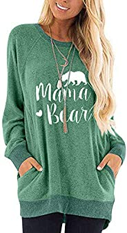 osazic Womens Casual Good Vibes & Mama Bear Long Sleeve Pocket Sweatshirts Blouses T Shirts Tunic Tops S
