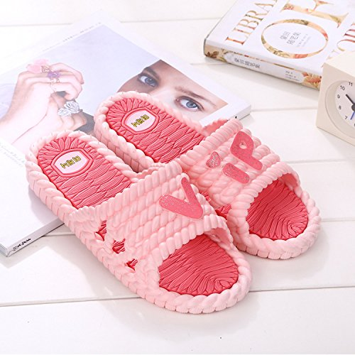 fankou Mr Home Couple Thick Female Slippers Bathroom Shower Plastic Cool Slippers Non-Slip Home Interior and Cool Drag and,38-39, Watermelon Red