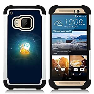 - Leo Lion Zodiac Sign/ H??brido 3in1 Deluxe Impreso duro Soft Alto Impacto caja de la armadura Defender - SHIMIN CAO - For HTC ONE M9