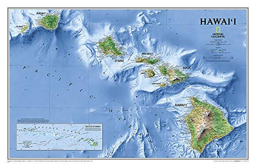 National Geographic: Hawaii Wall Map (34.75 x 22.75 inches) (National Geographic Reference Map)...
