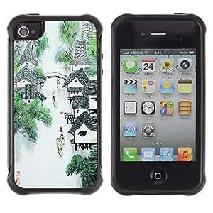 Suave TPU GEL Carcasa Funda Silicona Blando Estuche Caso de protección (para) Apple Iphone 4 / 4S / CECELL Phone case / / China Waterfall River Mountain Village Art /