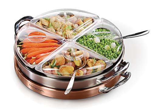 HomeCraft LSB3 Electric 3-in-1 Copper Stainless Steel Lazy Susan Buffet ()