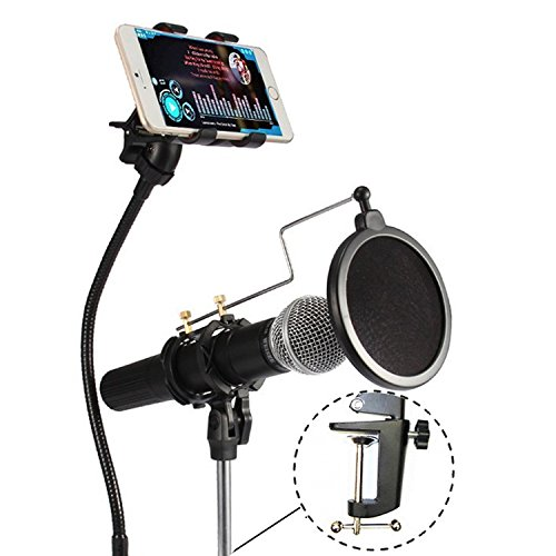 (VIMVIP 3-in-1 Recording MV Professional Phone Microphone Stand Support with Angle Adjustment 360° Swivel Holder, Including: Mic Stand, Phone Mount and Pop Filter for iPhone, Samsung, and More (Black))