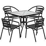 "Flash Furniture 31.5"" Square Glass Metal Table with 4 Black Metal Aluminum Slat Stack Chairs For Sale"