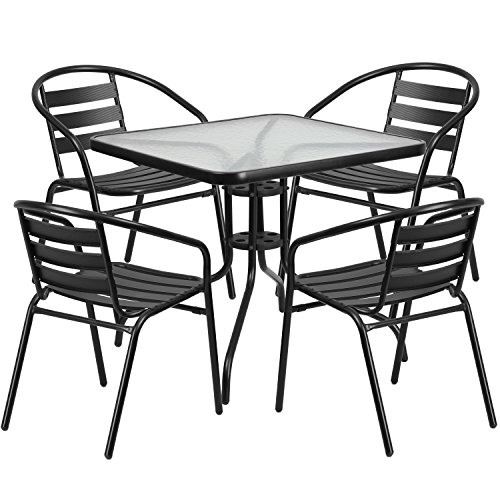 Flash Furniture 31.5'' Square Glass Metal Table with 4 Black Metal Aluminum Slat Stack Chairs (Sets For Sale Bistro)
