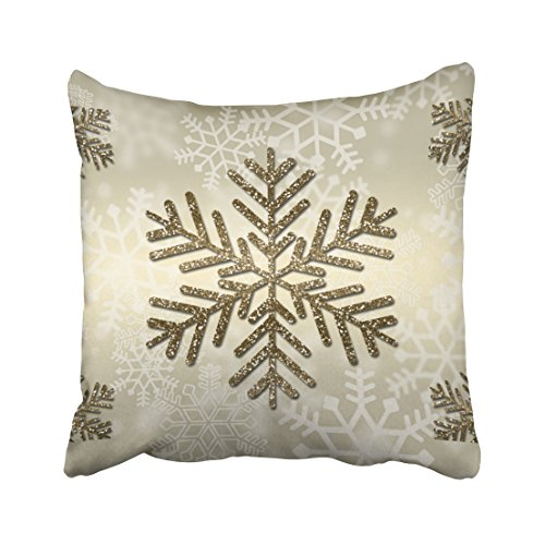 Emvency Decorative Throw Pillow Cover Square Size 10x10 Inches Holiday Snowflake With Gold Glitter Pillowcase With Hidden Zipper Decor Fashion Cushion Gift For Home Sofa Bedroom Couch (Antique Gold Snowflake)