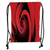 Custom Printed Drawstring Sack Backpacks Bags,Rose,Extreme Close Up of Red Rose Bloom Swirled Spiral Petals Beauty in Nature Theme,Vermilion Black Soft Satin,5 Liter Capacity,Adjustable String Closure