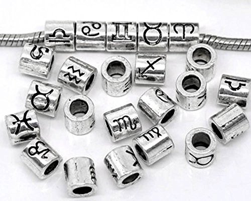 36 Mixed Antique Silver Zodiac Spacer Beads Fit Easy Fit European Bracelet 7.5x7.5mm, Sold Per Pack of 36