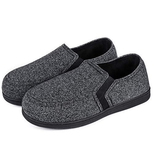 HomeTop Men's Comfy Knitted Memory Foam House Shoe Slipper with Designed Elastic Side Gores